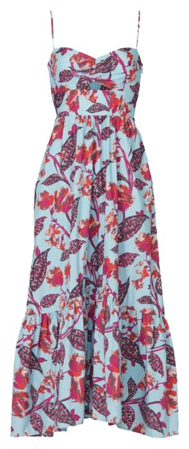 Item - Blue L Emilia Pink Red Floral Cotton Spaghetti Strappy Long Casual Maxi Dress Size 8 (M)