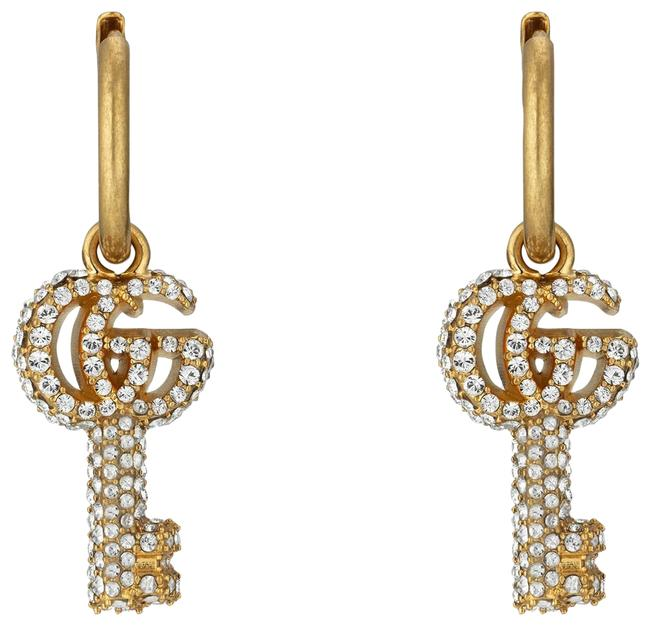 Item - Double G Key Gold-tone Brass and Crystal Hoop Earrings
