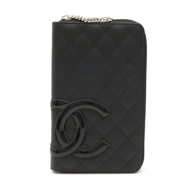 Item - Black / Pink Long Cambon Line Round Organizer Coco Mark Leather 8660 Wallet