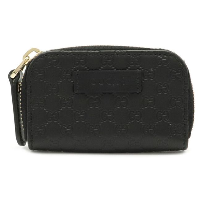 Item - Black Micro Shima Round Coin Purse Leather 449896 Wallet