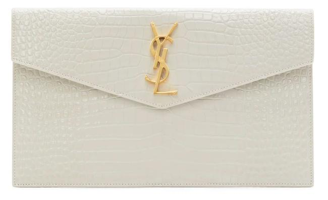 Item - New Monogram Croc Embossed Envelope Purse White Gold Leather Clutch