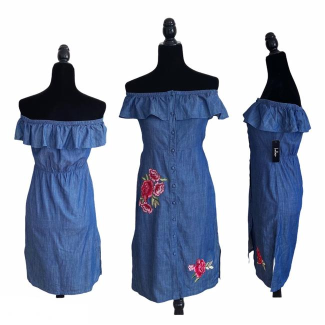 Item - Blue Red Pink Green The Wander Mid-length Cocktail Dress Size 4 (S)