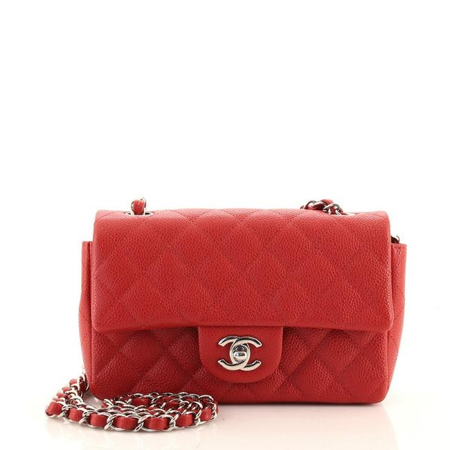 Item - Classic Flap Classic Single Quilted Caviar Mini Red Leather Cross Body Bag