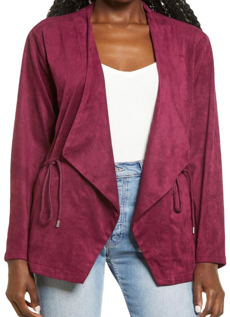 Item - Burgundy New Faux Suede Draped Jacket Size 4 (S)