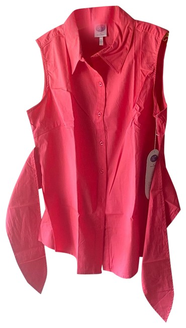 Item - Coral/Pink 051118 Button with Attached Sash Blouse Size 16 (XL, Plus 0x)