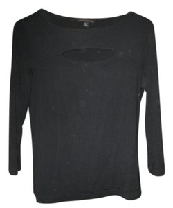 Banana Republic Stretch Longsleeve Cut-out Basic Top Black