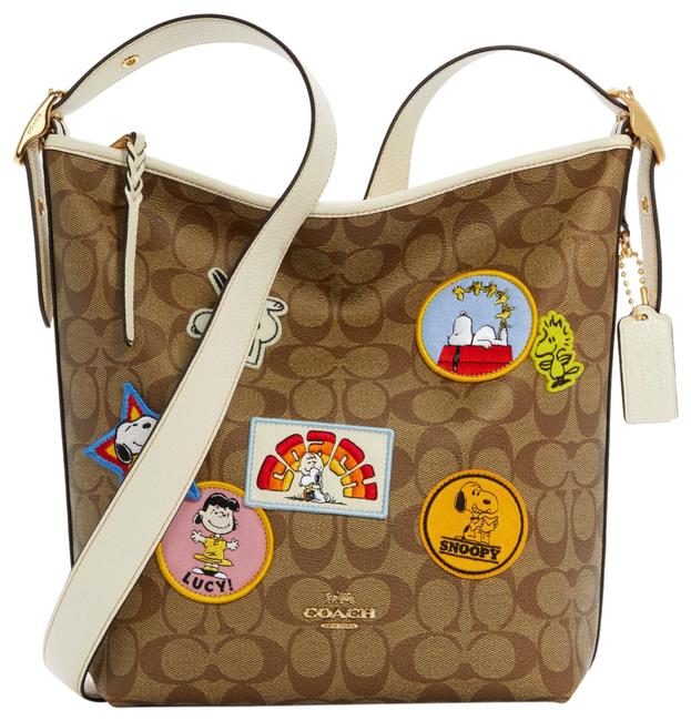 Item - Duffle X Peanuts Val In Signature Canvas with Varsity Patches Khaki Chalk Multi Leather,pvc Shoulder Bag