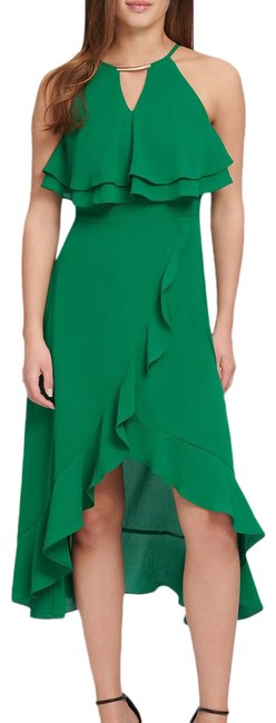 Item - Green Round Keyhole Neck Hardware Detail Ruffle Chiffon Popover Mid-length Night Out Dress Size 4 (S)