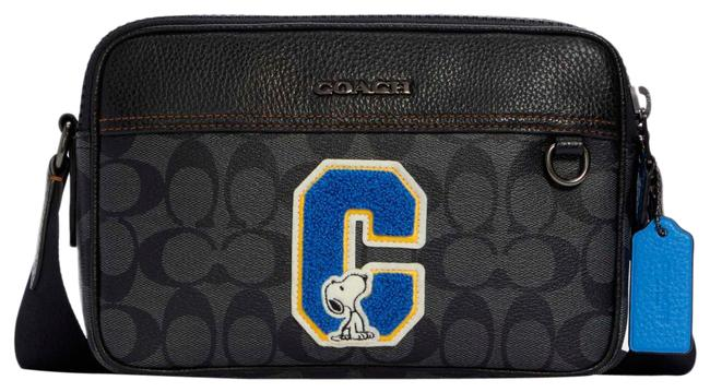 Item - Peanuts Graham In Signature Canvas with Snoopy Charcoal Multi Leather Cross Body Bag