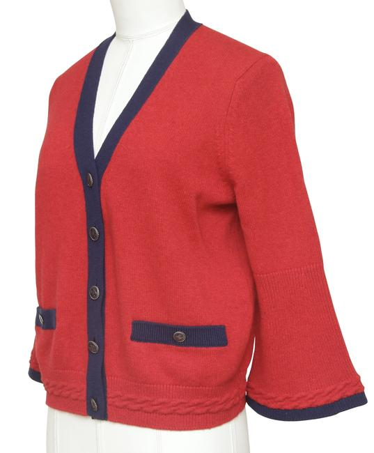 Chanel Red Cashmere Sweater Knit Navy Pockets V-neck 38 Cardigan Size 6 (S) Chanel Red Cashmere Sweater Knit Navy Pockets V-neck 38 Cardigan Size 6 (S) Image 3