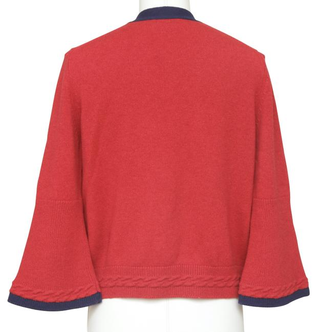 Chanel Red Cashmere Sweater Knit Navy Pockets V-neck 38 Cardigan Size 6 (S) Chanel Red Cashmere Sweater Knit Navy Pockets V-neck 38 Cardigan Size 6 (S) Image 6