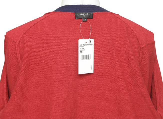 Chanel Red Cashmere Sweater Knit Navy Pockets V-neck 38 Cardigan Size 6 (S) Chanel Red Cashmere Sweater Knit Navy Pockets V-neck 38 Cardigan Size 6 (S) Image 7