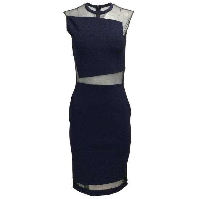 Item - Navy Blue Stretchy Mesh Night Out Dress Size 6 (S)
