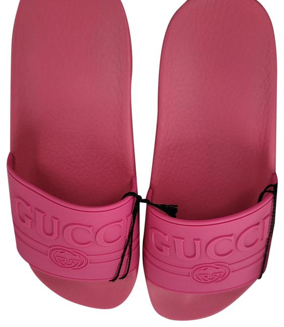 Item - Pink Logo Embossed Rubber Pool Sandals Size EU 37 (Approx. US 7) Wide (C, D)