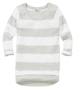Aritzia Stripes Tna Raglan Cotton T Shirt Grey/White