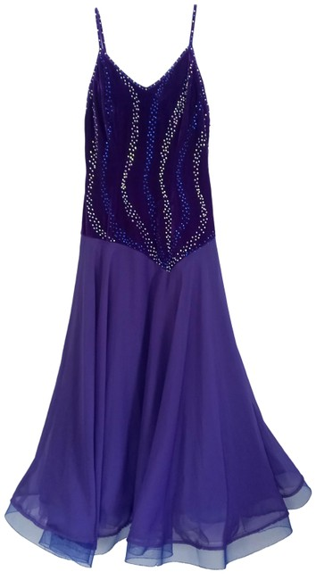 Item - Purple Blue Swarovski Crystals Ballroom Dancing Competition Gown Long Night Out Dress Size 14 (L)