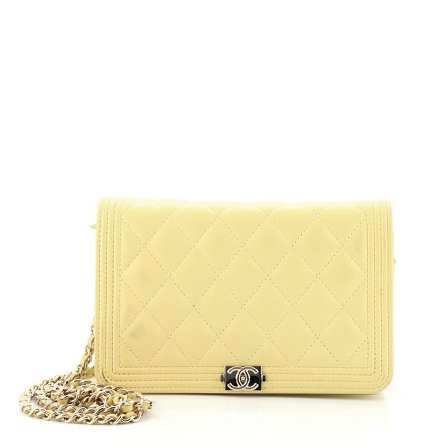 Item - Yellow Boy on Chain Quilted Lambskin Wallet