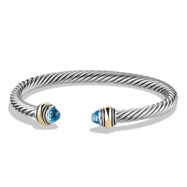 Item - Cable Classic with Blue Topaz and 14k Gold 5mm Bracelet
