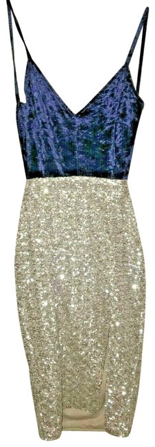 Item - Blue/Silver New with Tag Backless Party Navy S Short Cocktail Dress Size 6 (S)