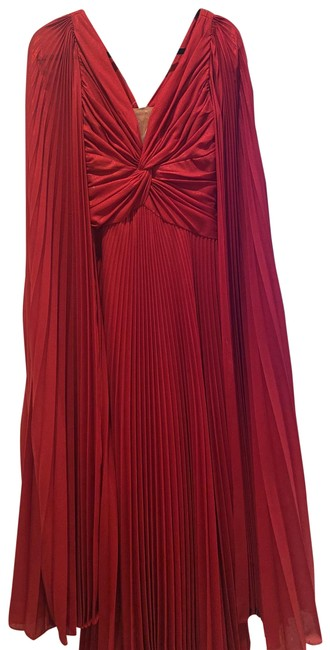 Item - Red Cape Sleeve Pleated Lame Gown Long Formal Dress Size 2 (XS)