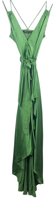 Item - Green Hammered Silk Evening Gown Long Formal Dress Size 2 (XS)
