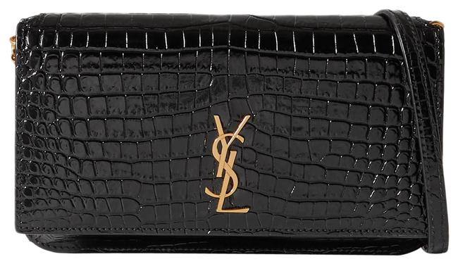 Item - Kate Ysl Monogram Phone Holder with Strap In Smooth Black Leather Cross Body Bag