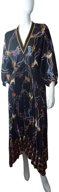 Item - Multicolor Palmina Pleated & Printed Mid-length Formal Dress Size 14 (L)
