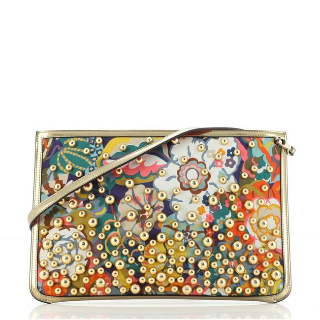 Item - Loubiclutch Embellished With Gold Multicolor Print Satin Patent Leather Cross Body Bag