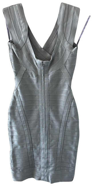 Item - Silver Bandage Mid-length Cocktail Dress Size 4 (S)