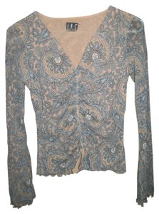 INC International Concepts Longsleeve V-neck Nylon T Shirt gray paisley