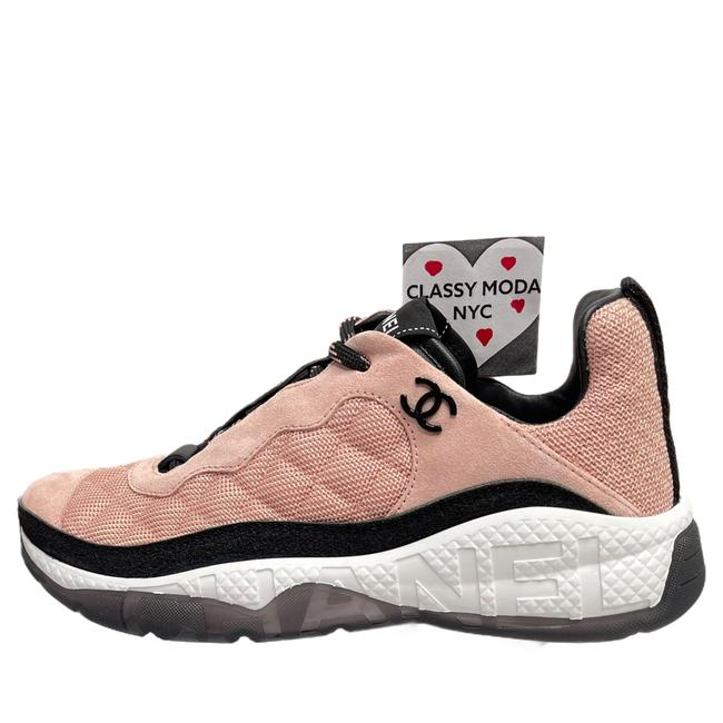 Item - Pink White Black 2021 Runners Trainers Quilted Logo Sneakers Size EU 38 (Approx. US 8) Regular (M, B)