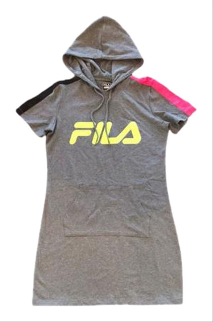 Item - Gray/ Black/ Pink/ Yellow L Athletic Hooded Neon Mini Short Casual Dress Size 12 (L)