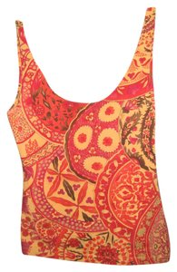 Other Retro Orange Floral Low Back Vintage Top red/orange
