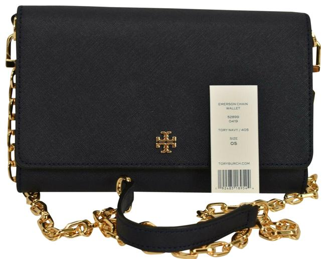 Item - 52899 Emerson Navy Gold Chain Wallet Blue Leather Cross Body Bag