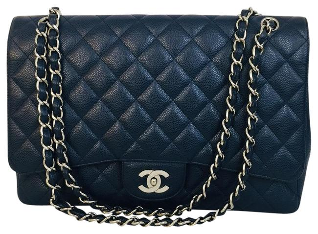 Item - Classic Caviar Quilted Maxi Single Flap Navy Leather Shoulder Bag