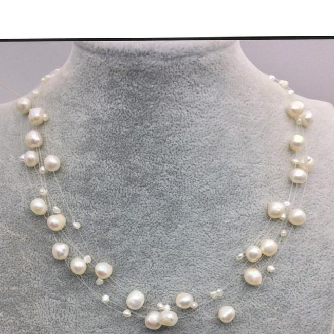 Item - White and Silver Freshwater Pearls Layering Choke Necklace