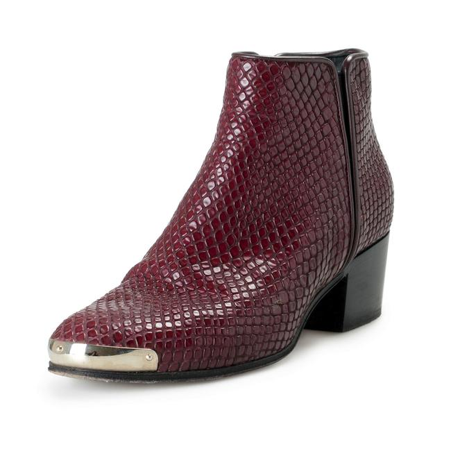 Item - Burgundy/Purple Women's Textured Leather Ankle Boots/Booties Size US 7 Regular (M, B)