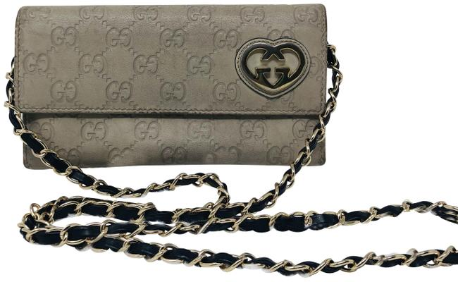 Item - Cream With Gold Gg Heart Wallet