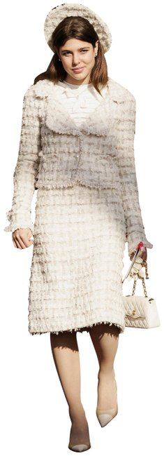 Item - White Rare Vintage Fall 2005 Ecru Pearl Fantasy Tweed 05a Jacket Skirt Suit Size 6 (S)