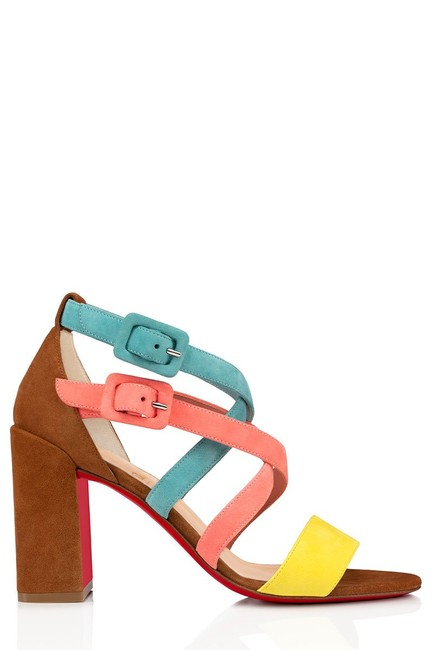 Item - Pink Yellow Brown Teal Blue Zefira 85 Colorblock Suede Strappy Heels Sandals Size EU 35.5 (Approx. US 5.5) Regular (M, B)
