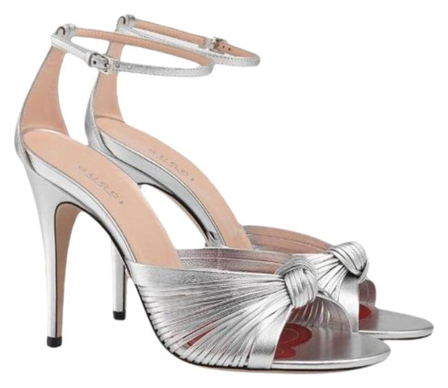 Item - Silver Crawford Metallic Leather Ankle Strap Knot It Sandals Size EU 38 (Approx. US 8) Regular (M, B)