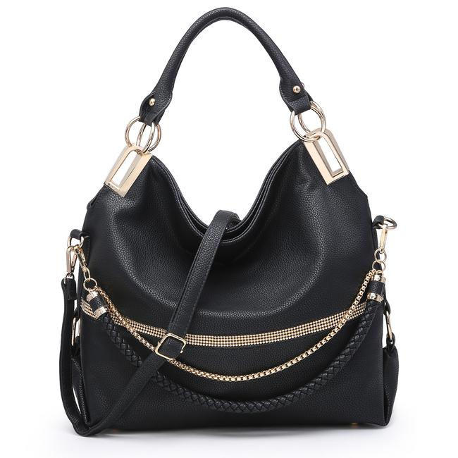 Item - W Gold-tone Quilted W/ Multi Shoulder Straps Black Faux Leather Hobo Bag