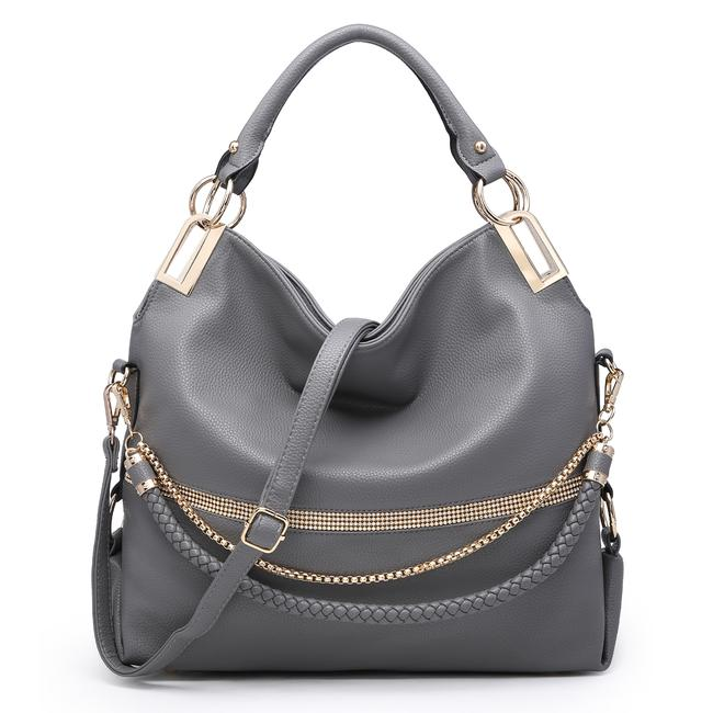 Item - W Gold-tone Quilted W/ Multi Shoulder Straps Gray Faux Leather Hobo Bag