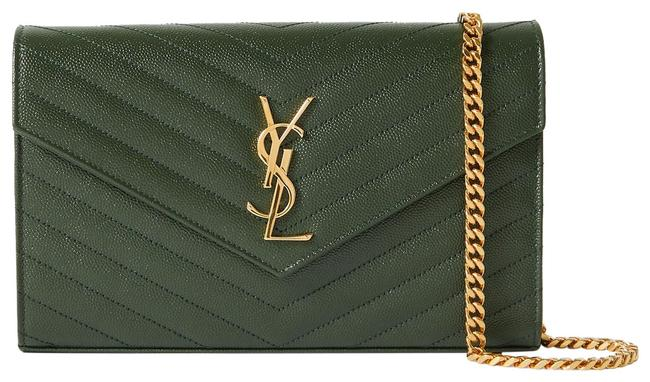 Item - Envelope Chain Wallet Clutch Ysl Woc Monogram In Quilted Patent Deep Green Leather Cross Body Bag