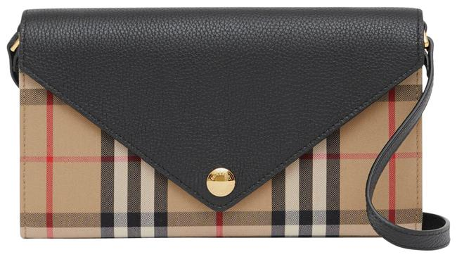Item - Vintage Check Leather Wallet with Detachable Ctrap Beige Cross Body Bag