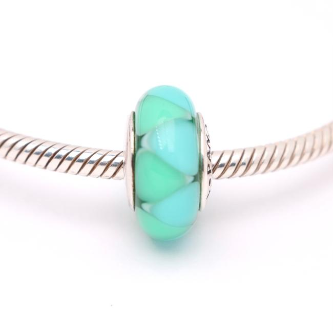 Item - Turquoise Sterlingsilver Captivating Green and Triangles Glass Charm