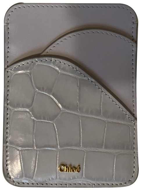 Item - Grey Light Smooth and Croc-effect Leather Cardholder Wallet