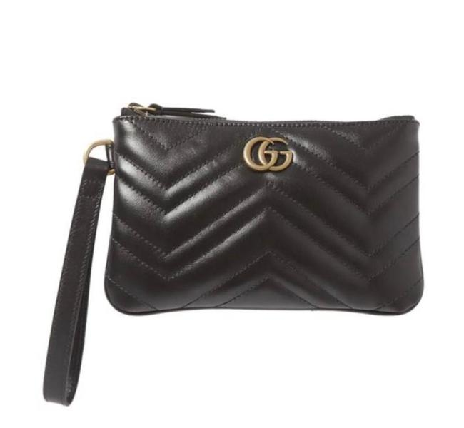 Item - GG Marmont Clutch New Gg Logo Quilted Black Leather Wristlet