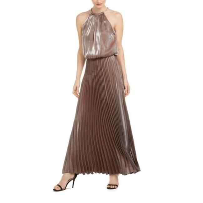 Item - Gold Metallicprint Pleated Blouson Gown Long Formal Dress Size 4 (S)