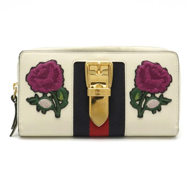 Item - Ivory / Multi-color / Navy / Red Color Sylvie Embroidered Continental Rose Patch Round Purse Leather 476083 Wallet